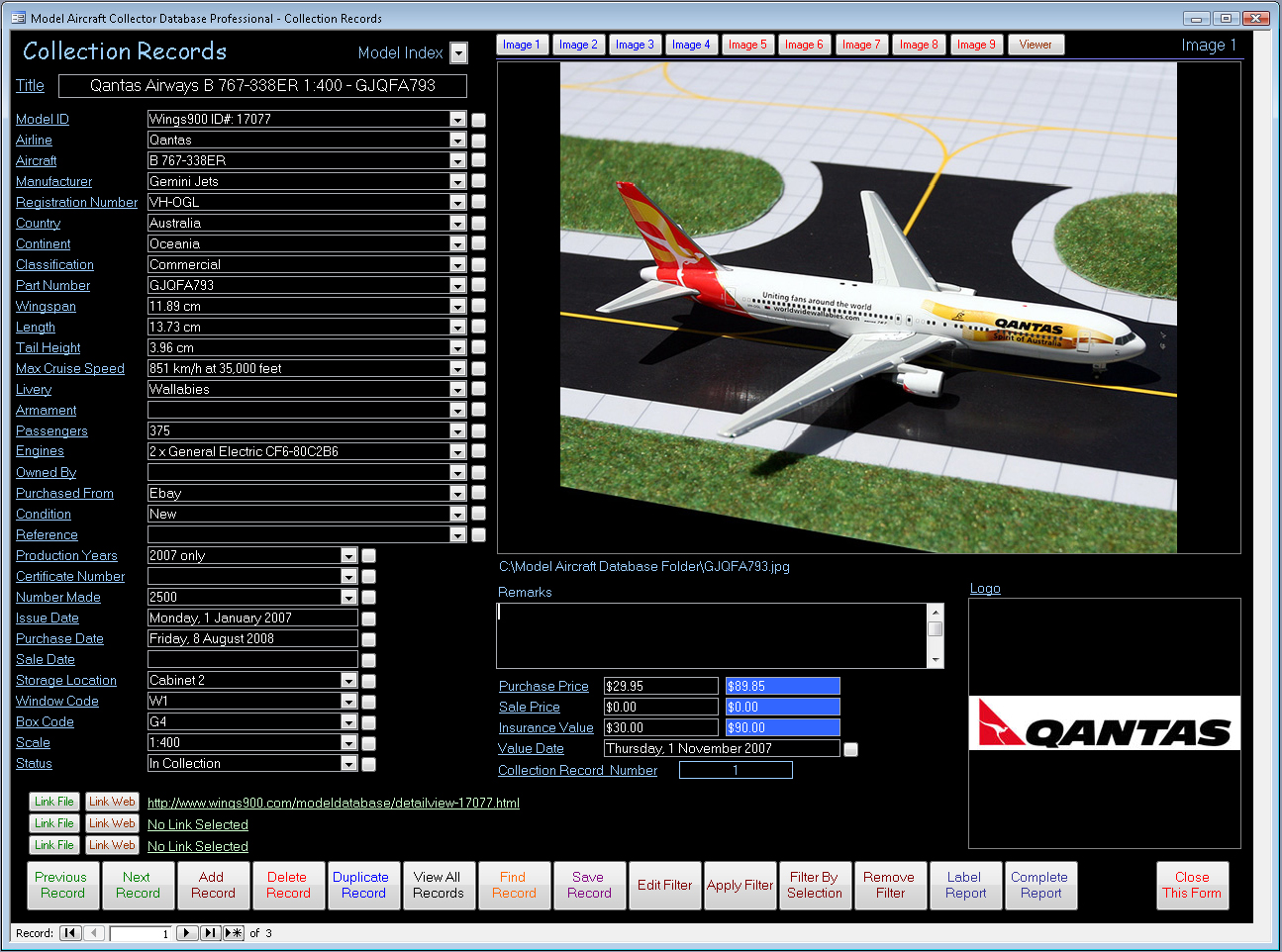 model aircraft collector database